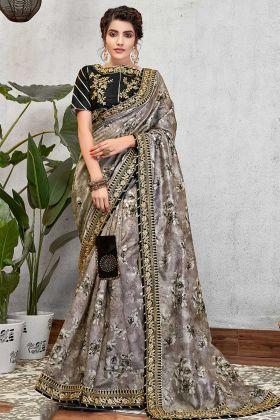 Grey Color Digital Print Silk Sarees Online