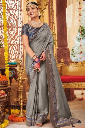 Grey Color Dola Silk Party Wear Saree With Weaving Work