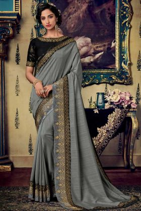 Grey Color Fancy Fabric Wedding Saree With Embroidery Work