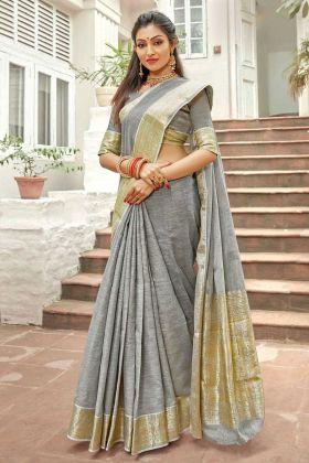 Grey Color Fancy Linen Party Wear Saree