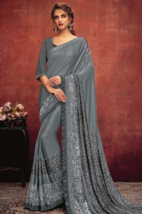 Grey Color Fancy Lycra Ruffle Saree