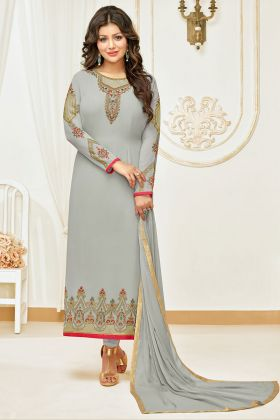 Grey Color Faux Georgette Designer Full Embroidery Salwar Suit