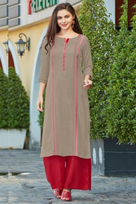 Grey Color Flex Rayon Straight Kurti With Rayon Red Palazzo