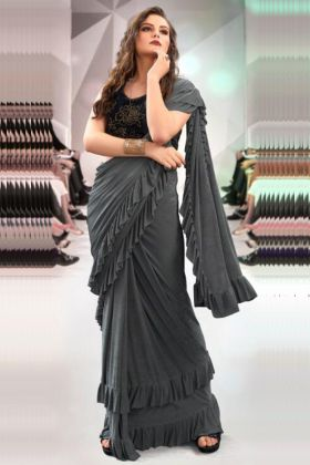 Grey Color Frill Fabric Party Wear Ruffle Saree