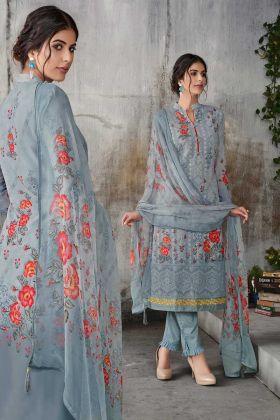 Grey Color Georgette Designer Salwar Suit In Lakhnavi Embroidered