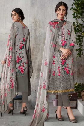 Grey Color Georgette Designer Salwar Suit With Dupatta