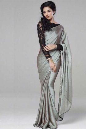 Grey Color Georgette Latest Designer Saree For Diwali Festival