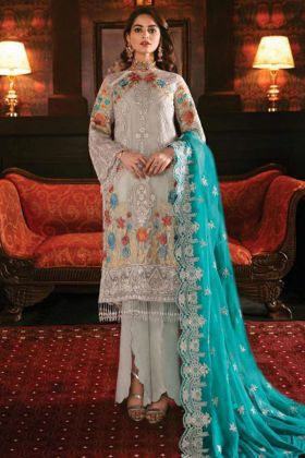 Grey Color Georgette Pakistani Salwar Suit With Nazneen Dupatta
