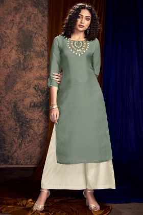 Grey Color Hand Work Satin Silk Palazzo Kurti Set