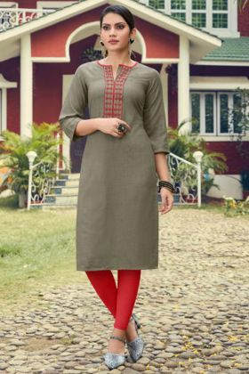 Grey Color Heavy Soft Cotton Slub Kurti With Embroidery Work