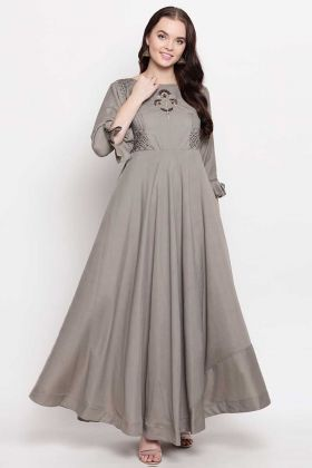 Grey Color Heavy Viscose Muslin Fancy Kurti With Hand Work