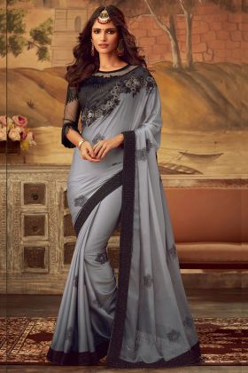 Grey Color Kaira Silk Party Wear Saree With Embroidery Work