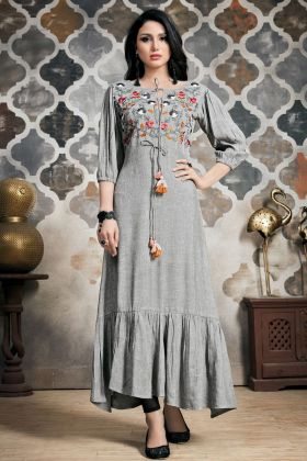 Grey  Color Khadi Cotton Long Kurti
