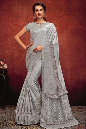 Grey Color Lycra Designer Ruffle Saree With Cord Embroidery Work