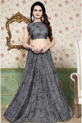 Grey Color Lycra Lehenga Choli With Foil Print Work
