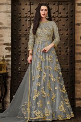 Grey Color Net Anarkali Salwar Kameez