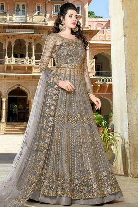 Grey Color Net Indo Western Salwar Suit With Resham Embroidery Work