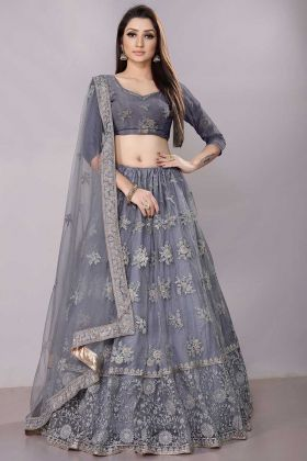 Grey Color Net Lehenga Choli With Coding Work