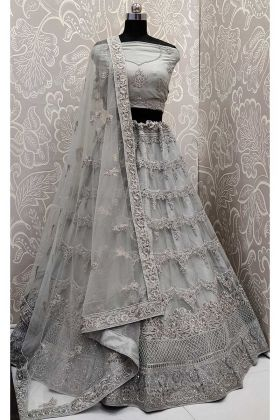 Grey Color Net Lehenga Choli With Resham Embroidery Work