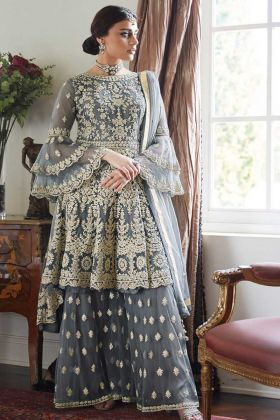 Grey Color Net Pakistani Dress With Embroidery Work