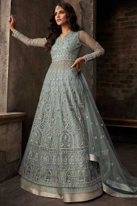Grey Color Net Party Wear Salwar Suit With Embroidery Work