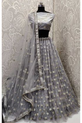 Grey Color Net Reception Lehenga Choli With Resham Embroidery Work
