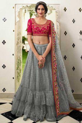 Grey Color Net Semi Stitched Lehenga Choli