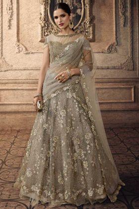 Grey Color Net Wedding Lehenga Choli With Beads Work