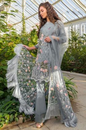 Grey Color Pakistani Salwar Suit With Lawn Fabric