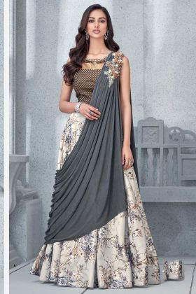 Grey Color Party Wear Lehenga