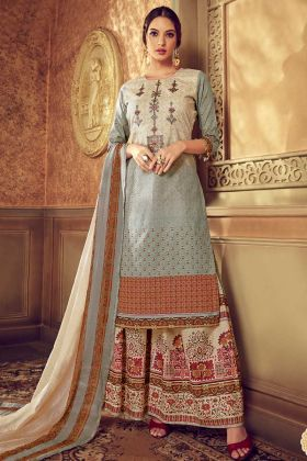 Grey Color Pure Cotton Palazzo Salwar Suit With Discharge Digital Printed Work