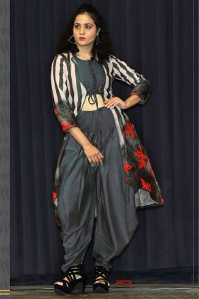 Grey Color Rayon Kurti With Dhoti Set