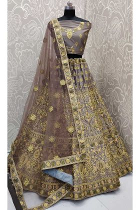 Grey Color Satin Silk Lehenga Choli With Zari Embroidery Work