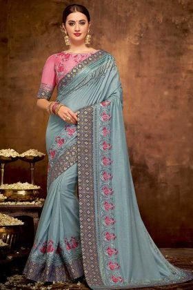 Grey Color Satin Silk Party Wear Saree With Thread Embroidery Work