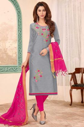 Grey Color Slub Cotton Straight Suit In Embroidered Work
