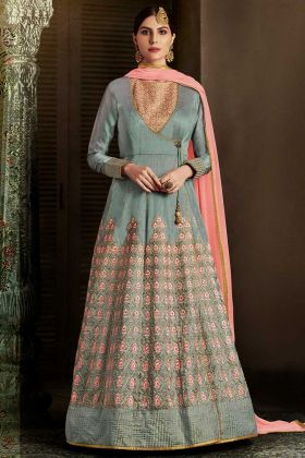 Grey Color Slub Silk Anarkali Salwar Kameez