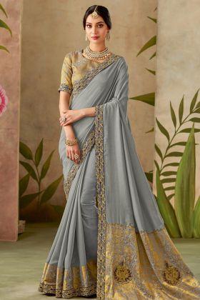 Grey Color Traditional Silk Saree Online
