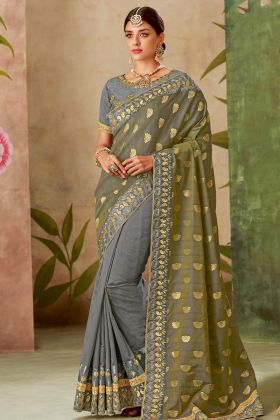 Grey Color Traditional Weaved Silk Saree Online