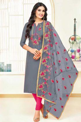 Grey Color Upada Silk Churidar Dress With Embroidery Work
