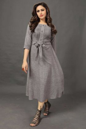 Grey Cotton Anarkali Kurti Printed Work
