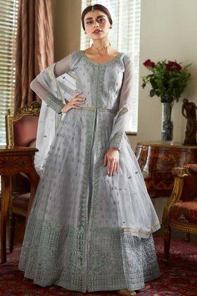 Grey Designer Embroidered Net Anarkali Suit With Front Slit