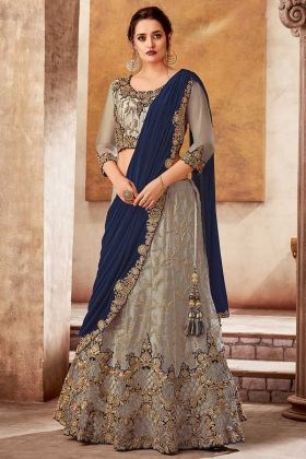 Grey Designer Saree Style Lehenga Satin And Net For Traditional Events