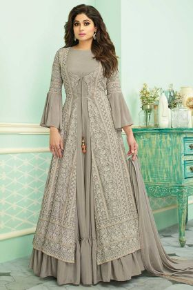 Grey Embroidered Jacket Style Anarkali Salwar Kameez