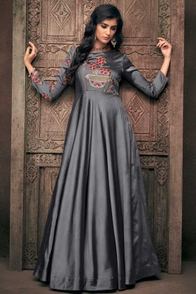 Grey Embroidery Work Evening Gown