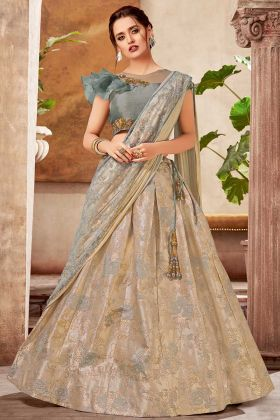 Grey Fancy Jacquard Layered Pallu Style Lehenga Choli