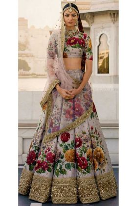 Grey Floral Digital Printed Fine Art Silk Bridal Lehenga Choli