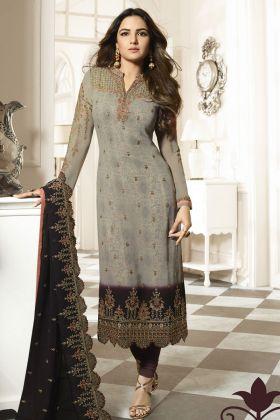 Grey Georgette Fancy Salwar Kameez