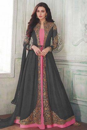 Grey Georgette Readymade Embroidery Jacket Style Anarkali Dress