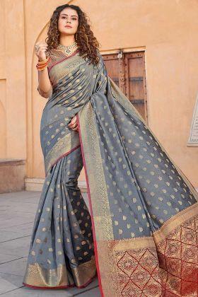 Grey Color Handloom Silk Designer Saree