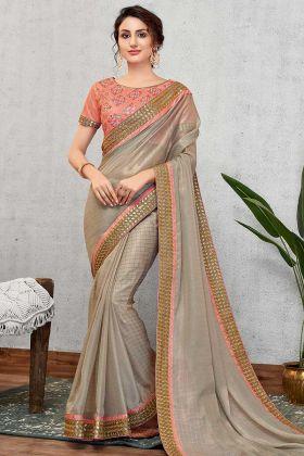 Grey Heavy Georgette Silk Saree Blouse Designs